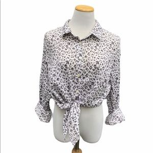 J Crew Leopard Print Button Down Perfect Shirt